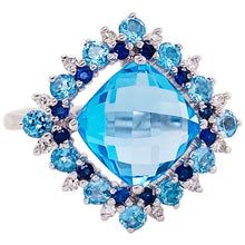 Blue Topaz Sapphire and Diamond Ring