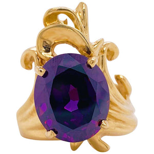 Amethyst Freeform 14 Karat Yellow Gold Ring