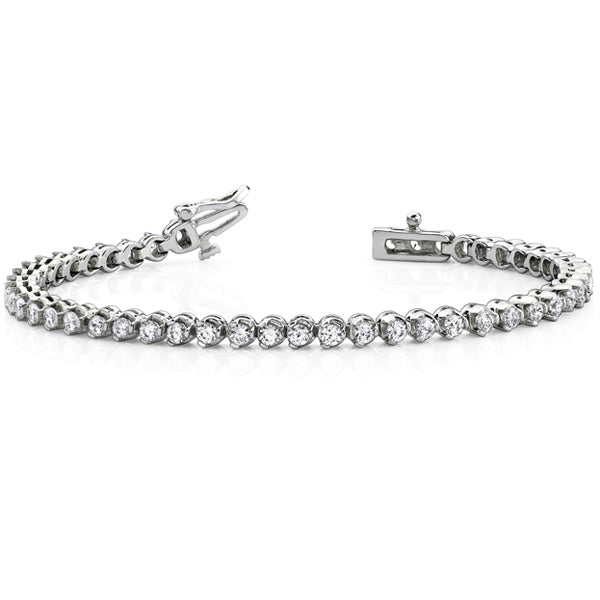 14k White Gold Diamond Three Prong Tennis Bracelet