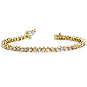 14k Gold Diamond Three Prong Tennis Bracelet