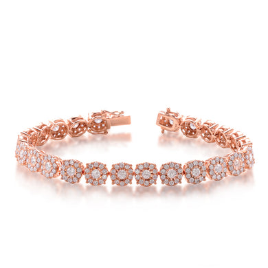 Diamond Halo Tennis Bracelet in 14k Rose Gold
