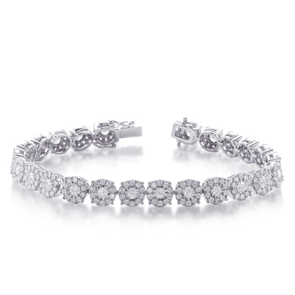 Diamond Halo Tennis Bracelet in 14k Gold