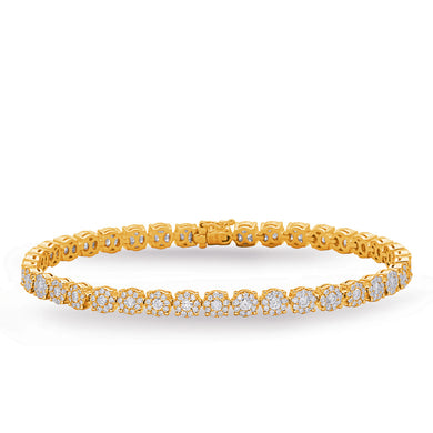 Diamond Halo Tennis Bracelet in 14k Yellow Gold