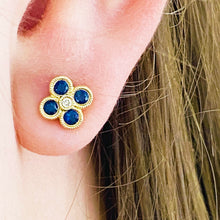 Diamond & Blue Sapphire Clover Earring Studs in Gold