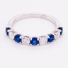 Blue Sapphire Diamond 18k White Gold Ring Band