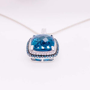 London Blue Topaz and Blue and White Diamond Necklace