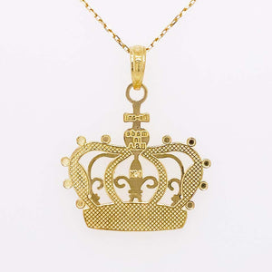 Gold Crown Necklace, Pendant, 14K Gold, Queen, Princess, Royalty, Mixed Metal