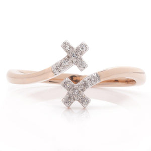 14k Rose Gold & Diamond Cross Ring
