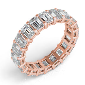 14k Rose Gold Emerald Cut Diamond Eternity Band