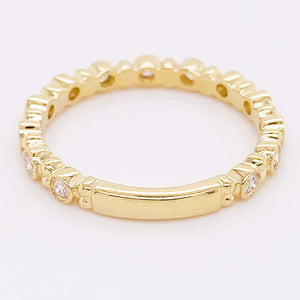 Diamond Gold Stackable Ring Band with Bezel Spacers