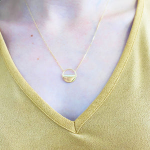 Diamond Open Disk Necklace, 14k Yellow Gold, 16-18 inches long