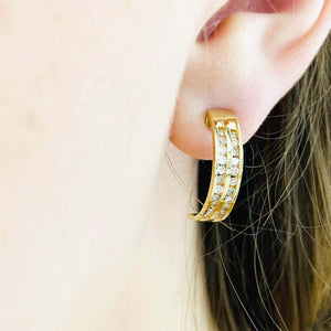 Gold Diamond J Hook Earrings