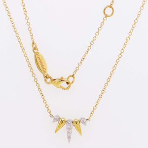 Diamond Spike Necklace, 14K Yellow-White Gold Diamond Pave Spike Fan Necklace
