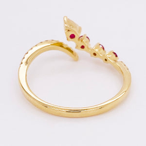 Ruby & Diamond Bypass Negative Space Band 14K Gold