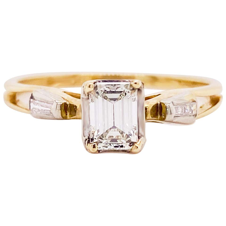Diamond Emerald Cut 14 Karat Yellow Gold Engagement Ring