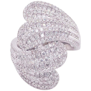 1.79 Carat Diamond White Gold Statement Ring, 14K White Gold Dinner Ring