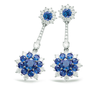 14k White Gold, Sapphire & Diamond Flower Earrings
