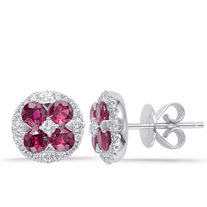 14k White Gold, Diamond & Ruby Earrings