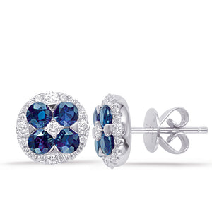 14k White Gold, Diamond & Sapphire Earrings