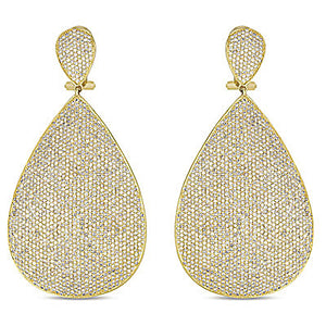 Pave Diamond Drop Earrings in 14k Gold