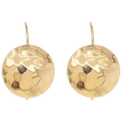 14 Karat Gold Hammered Disk Earrings