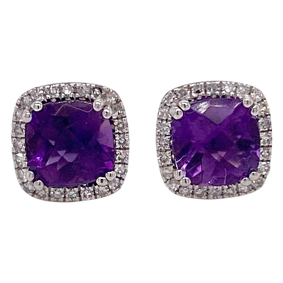 Amethyst Diamond Studs Earrings, Halo of Diamonds, White Gold, Cushion Amethyst