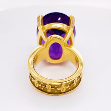 Amethyst and Diamond 18 Karat Gold Fleur de Lis Ring Custom Made Ring, One of a Kind