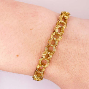 Fancy Charm Bracelet, 14 Karat Yellow Gold, Handmade Estate, Link Bracelet