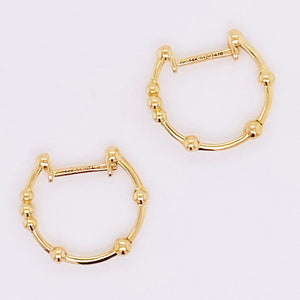 Gold Beaded Huggie Earrings