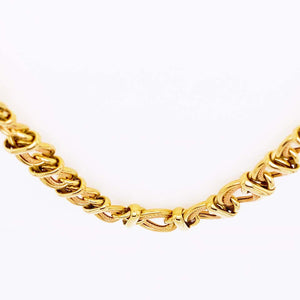 Double Link Choker Chain Necklace, 14 Karat Yellow Gold, Sailor's Knot