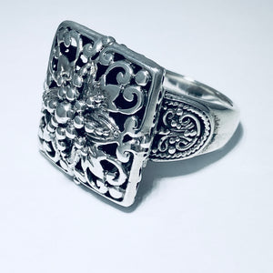 Sterling Silver Square Filigree Ring