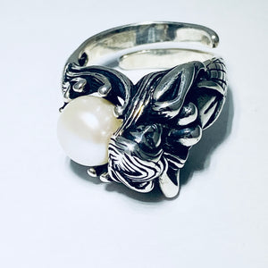 Silver Mermaid Pearl Ring
