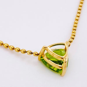 1.50ct Trillion Peridot Necklace - The August Collection