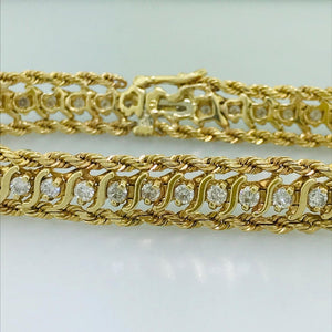 Diamond Tennis Bracelet With Gold Rope Chain 14 Karat Yellow Gold