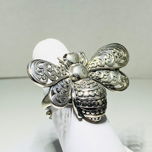 Sterling Silver Large Bumblebee Ring