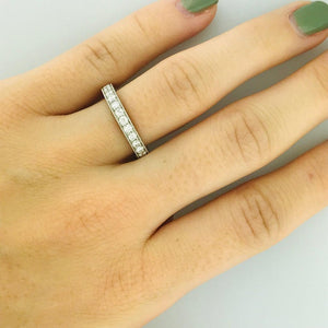 Diamond Eternity Platinum Eternity Band with Wheat Hand Engraving