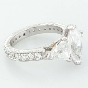 Marquise and Trillion Diamond Platinum Three-Stone Ring