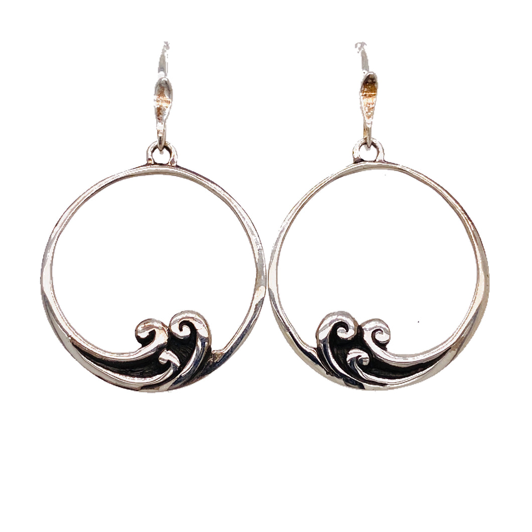 Sterling Silver Waves Hoop Earrings.