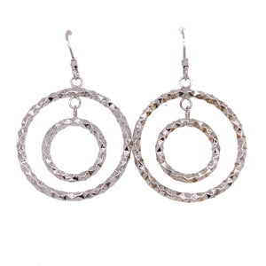 Sterling Silver Double Hoop Dangle Earrings
