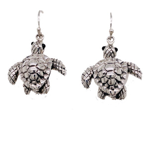 Sterling Silver Sea Turtle Dangle Earrings
