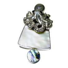 Sterling Silver, Mother of Pearl, & Abalone Octopus Pendant