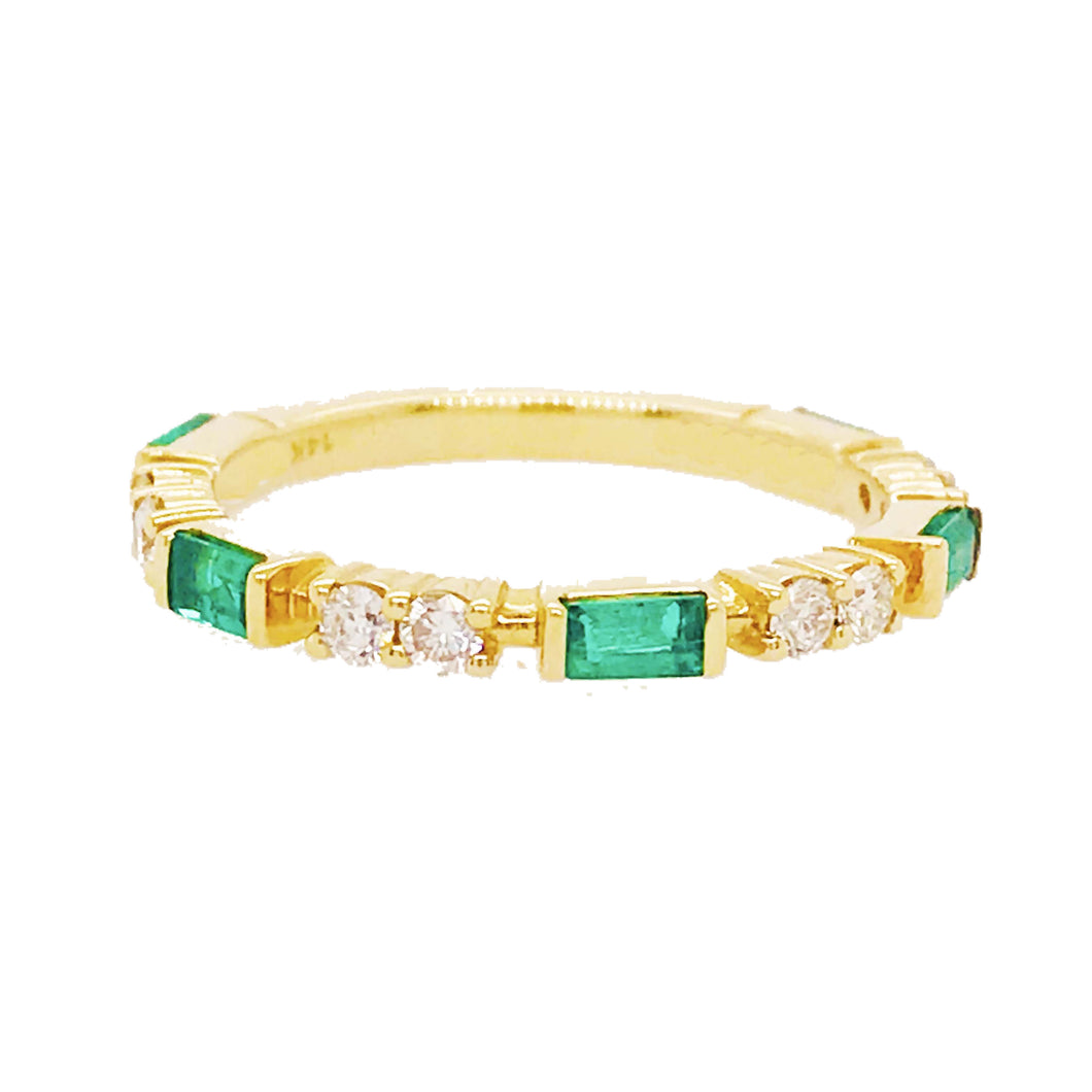 Diamond & Emerald Band in 14K Yellow Gold
