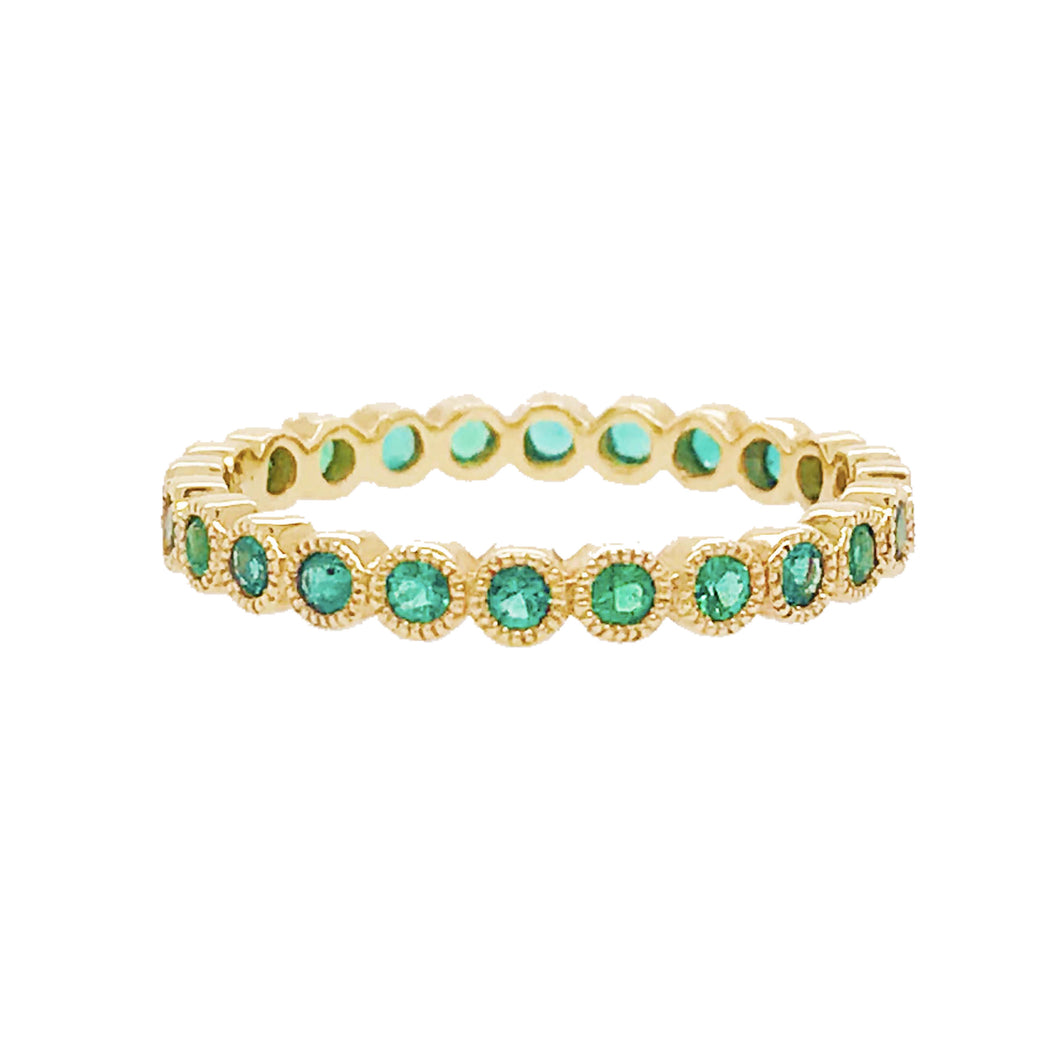 Emerald Bezel Eternity Band in Yellow Gold