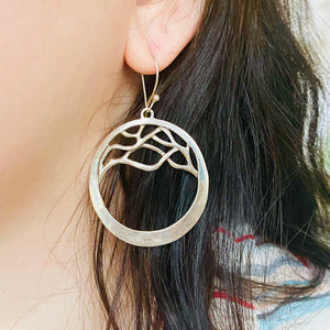 Sterling Silver Branch-Stylized Hoop Earrings