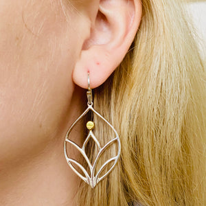 Sterling Silver Lotus Dangle Earrings
