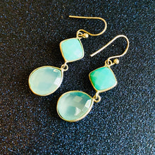 Chalcedony and Hydro Quartz Silver Dangle Earrings