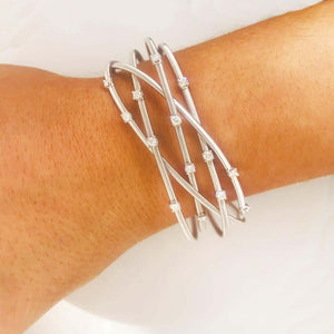 Diamond Cuff Bracelet 14K White Gold Woven Pattern and Wide Width w Safety Chain