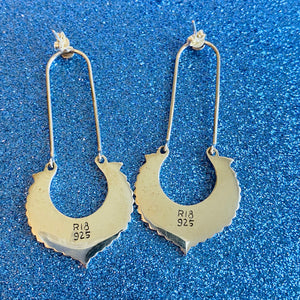 Sterling Silver Black Dangle Earrings