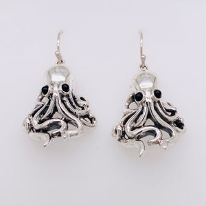 Sterling Silver Octopus Dangle Earrings