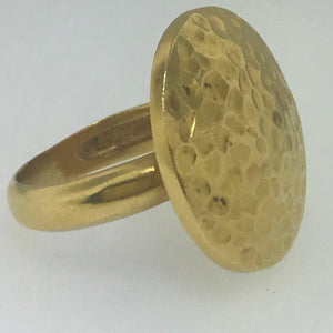 Yellow Gold Handmade Hammered Fashion Ring